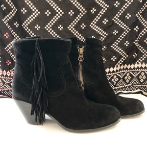 Sam Edelman Black Suede Fringe Ankle Booties 8.5